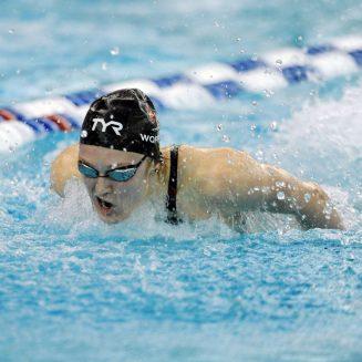 Mar 21, 2015; Greensboro, NC, USA; Kelsi Worrell swims 200 butterfly during NCAA Division I Swimming and Diving-Championships at Greensboro Aquatic Center. Mandatory Credit: Evan Pike-USA TODAY Sports